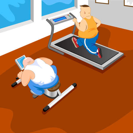Overweight mans in GYM.vector illustration Stock Vector - 12494375