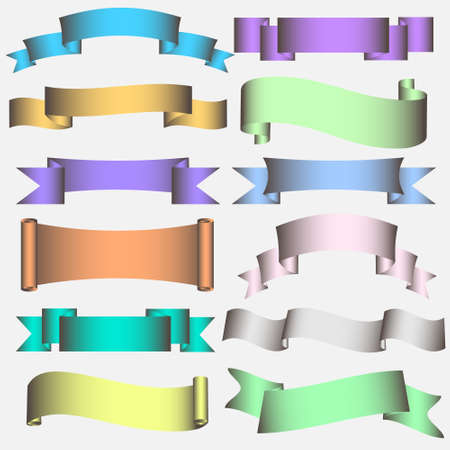 side border: Banner Ribbon Scroll in pastel tones. Vector collection