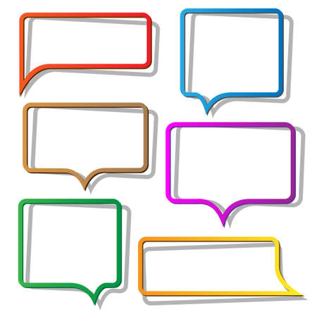 speeches: Speech bubbles from paper. Vector set