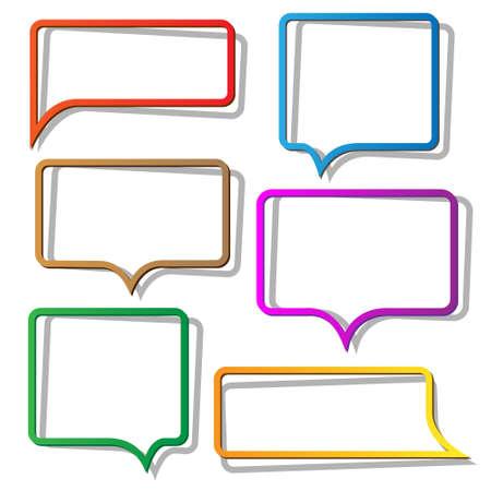 memorandum: Speech bubbles from paper. Vector set