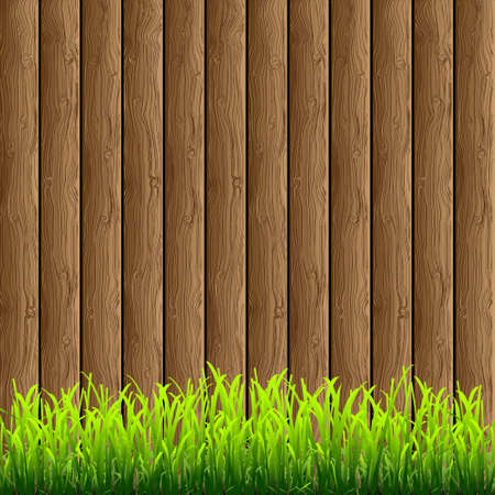 Wooden background with green grass Vector