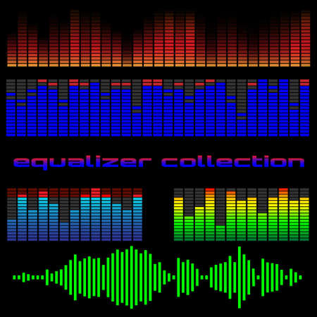 audio wave: Vector set of colored equalizers