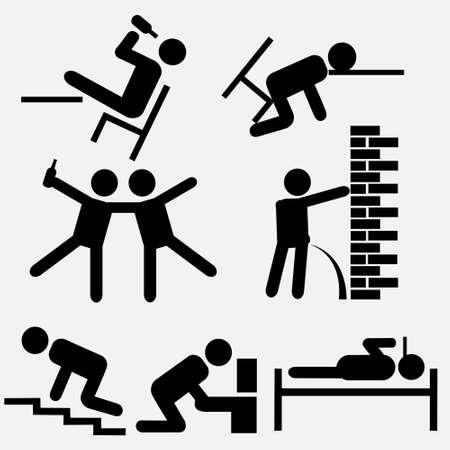 borracho: La noche de la ilustración humorística weekend.Vector Vectores
