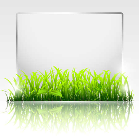 Natural frame with grass.Vector eps10