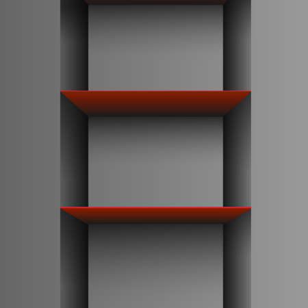 empty shelf:  Two red empty shelf on grey background.Vector eps10