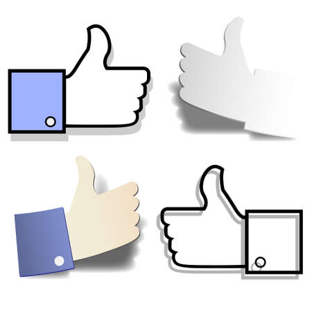 like button: Thumb up like hand symbol Vector set of design elements