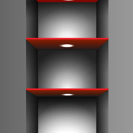 Red empty shelf with lighting.Vector eps10 Stock Vector - 12825729
