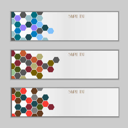 Set of three banners with colorful hexagons Vector