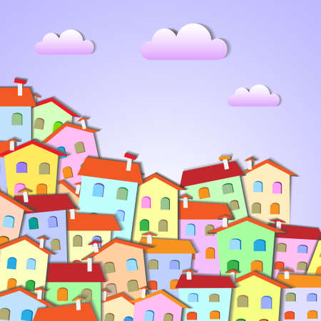 oncept:  Colorful Little town .Vector paper-art