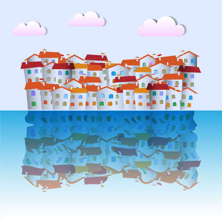 Little town near ocean. Vector paper-art Stock Vector - 12825717