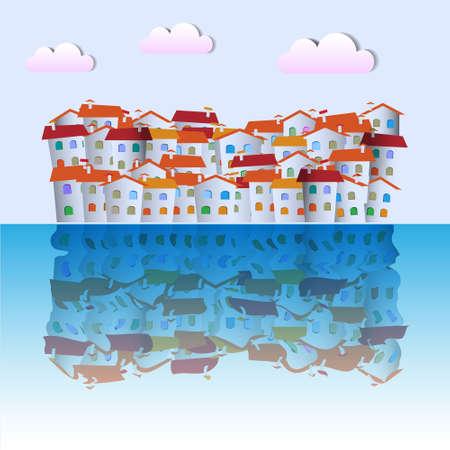 little town: Little town near ocean. Vector paper-art