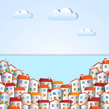 panoramic view: Little town. Vector paper-art Illustration