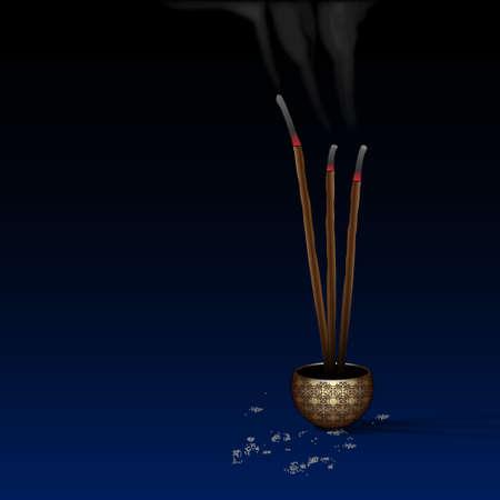 mystique: Meditation background with burning incense.Vector eps10
