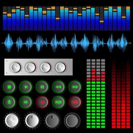 editing: Software buttons and equalizers.Vector set