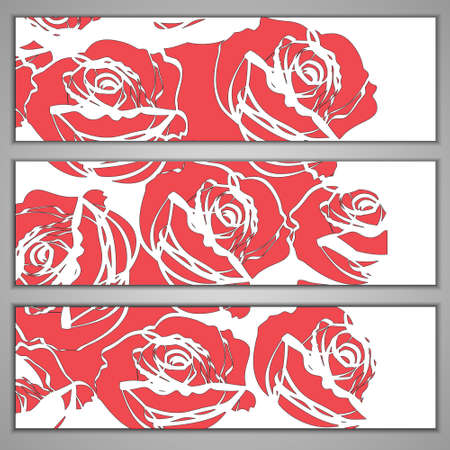 Three retro flower banners with red roses. Vector eps10 Vector