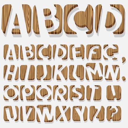 the 3d: Madera 3D alphabet.Vector eps10