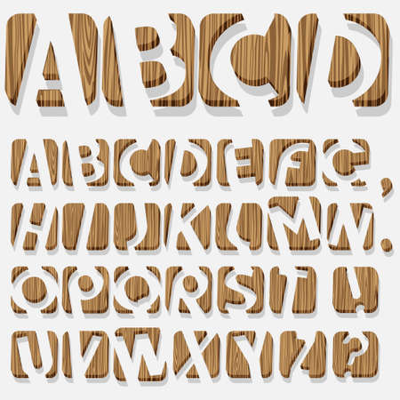 Wooden 3D alphabet.Vector eps10 Vector