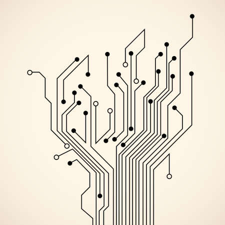 pcb: Abstract circuit tree. Vector background