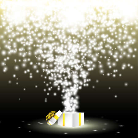 Open gift box with fireworks from lights.Vector eps 10 Vector