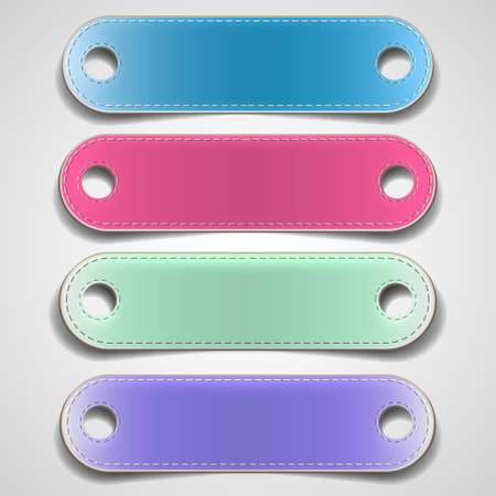 Set of colorful leather banners. Vector eps10 Vector