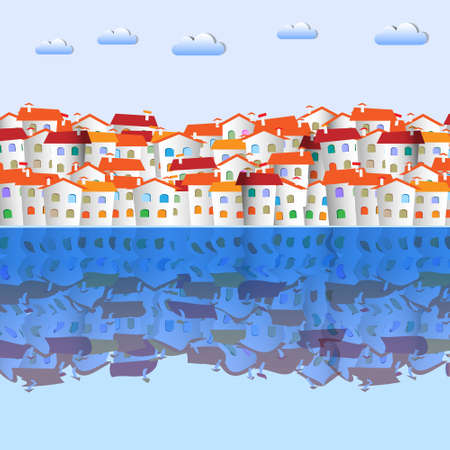 Little colorful town and reflection.Vector paper-art  Stock Vector - 12826968