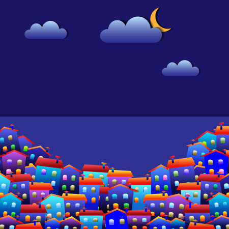 wall cloud: Little colorful town at night. Vector paper-art  Illustration