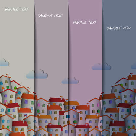 Layout design with  colorful town.Vector paper-art Vector