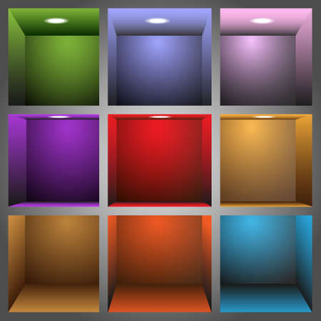 3d colorful shelves Stock Vector - 12967165