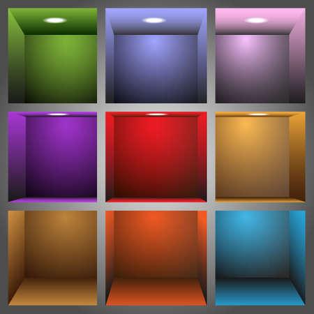 exposition art: 3d �tag�res color�es Illustration