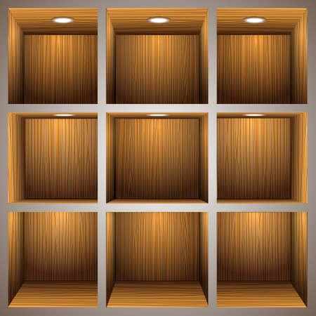 3d estantes de madera Ilustración de vector