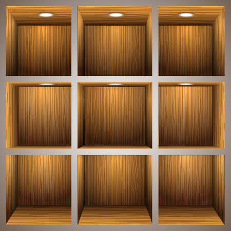 3d wooden shelves Stock Vector - 12967173
