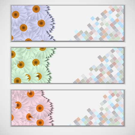 Vector set of three banners, abstract headers with camomiles Stock Vector - 12967188