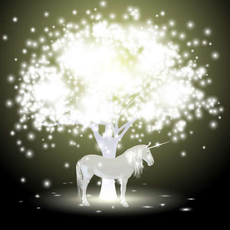Magical tree and Unicorn Vector