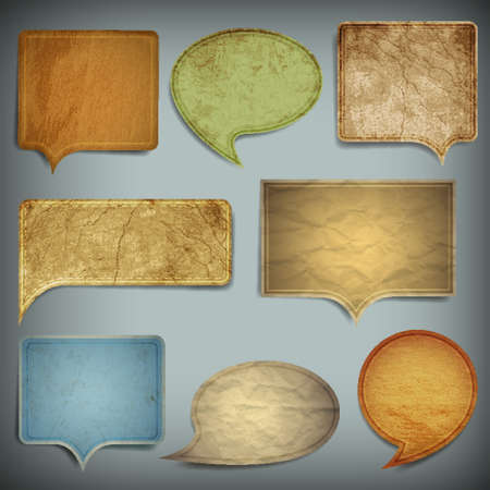 bubble icon:  Set of vintage bubbles for speech old paper texture
