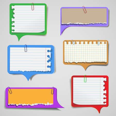 Conjunto de burbujas rotas de papel del habla