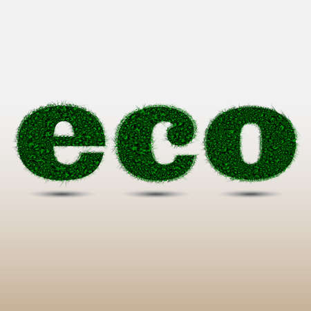 The word ECO made of stylized grass isolated on white background Stock Vector - 12967341
