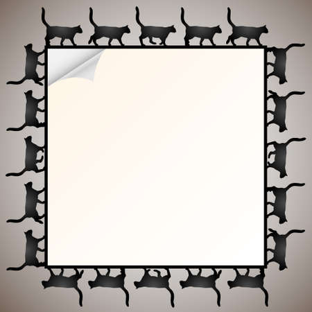 Paper frame with silhouette black cat Vector