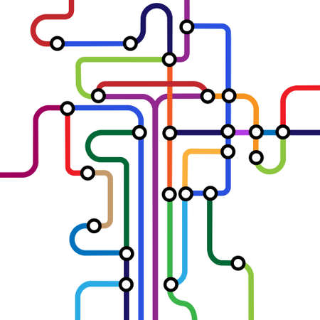road map: Colorful abstract subway map.
