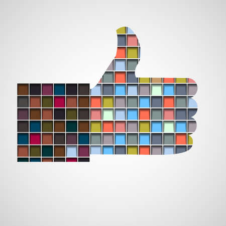 like button:  Thumb up- Like made of colorful blocks