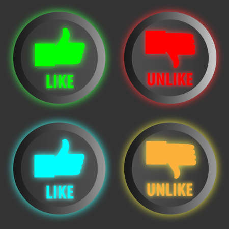 decline in values: Thumbs-up like and down buttons icon set