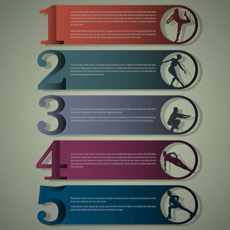 gimnasio: Las l�neas de dise�o de la plantilla de n�mero con las siluetas de fitness Vectores