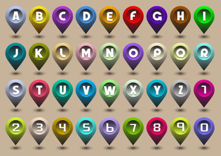 3d alphabet letter abc: Colorful alphabet letters and numbers in the form of GPS icons