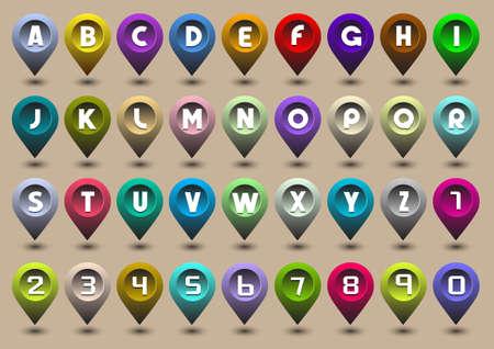 Letras coloridas del alfabeto y los n�meros en forma de iconos de GPS Foto de archivo - 13123610