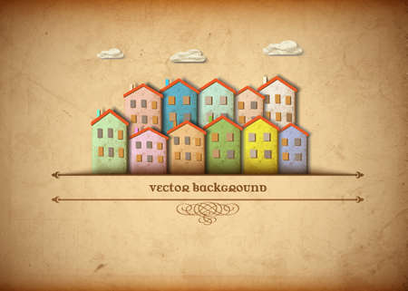 Little town made from old paper Vector