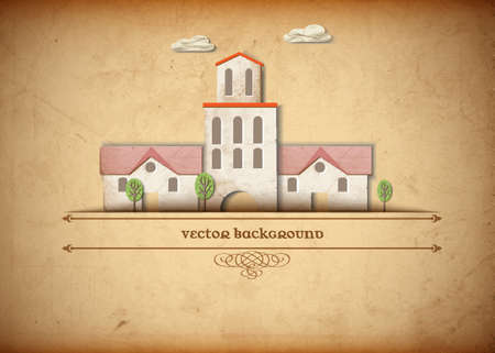Medieval church made from old paper Vector