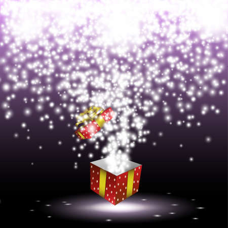 magic box: Red gift box with fireworks from lights