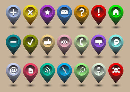 local: Collection different web icons in the form of GPS icons Illustration