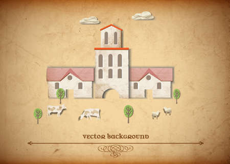 Landscape with Medieval church and sheeps,cow Vector