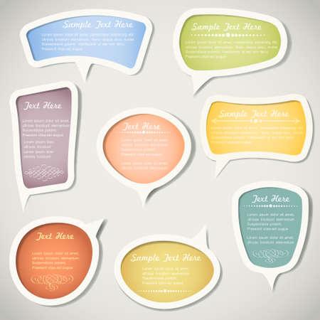 Speech bellen met kalligrafische elementen