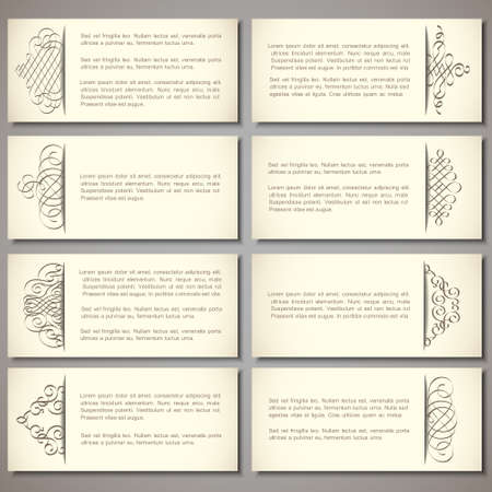 set of paper banners with calligraphic elements Vector